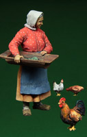 Russian old woman and hens