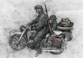 WW2 German Motorcycle Troops
